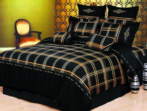 Madison 7-Piece Duvet Cover Set, King, Black front-864621