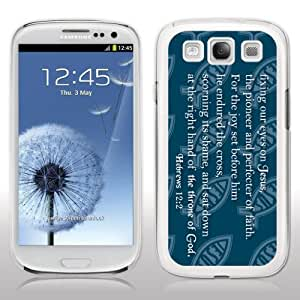 Samsung Galaxy S3 Case - Christian Theme - Hebrews 12:2 - White Protective Hard Case