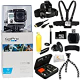 GoPro Hero3: White Edition - (Waterproof Housing) Camera HD Camcorder + 32GB Bundle 12PC Accessory Kit. Includes 32GB MicroSD Card + Reader + Head Strap + Chest Strap + Micro HDMI Cable + Handheld Monopod + Premium Rugged Hard Case + Bobber Handle + Gripster + Memory Card Wallet + Microfiber Cleaning Cloth