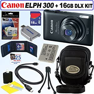 Canon PowerShot ELPH 300 HS 12 MP CMOS Digital Camera (Black) + 16GB Deluxe Accessory Kit