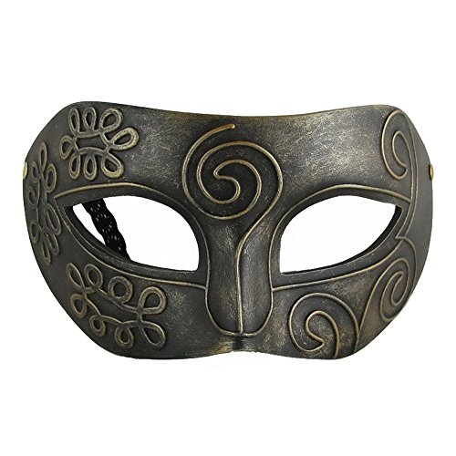Mens Coppery Greek Roman Masquerade Facial Mask Fancy Dress Masked Ball