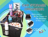 OrgaNICE! Car Seat Organizer - Organizes Kids & Adults in Your Car- Premium Quality Backseat Storage with Front & Inside Pockets - 4 Drink Holders - Rigid Inserts Allow Easy Fold Flat Storage - Black