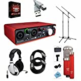 Focusrite Scarlett 2i4 USB Interface with MXL 550/551r, Cables, and Headphones Bundle