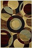 Rubber Back Multicolor Contemporary Circles Non-Slip (Non-Skid) Door Mat Rug 18