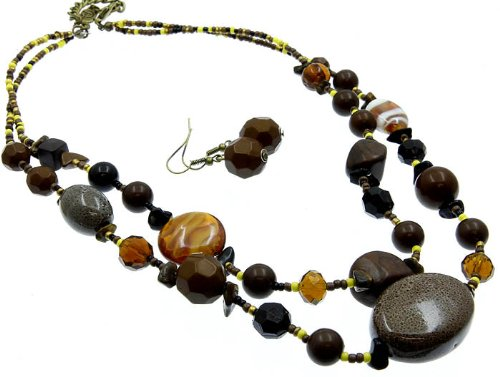 NECKLACE AND EARRING SET BEAD NATURAL STONE BROWN Fashion Jewelry Costume Jewelry fashion accessory Beautiful Charms
