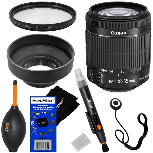"""Canon Ef-S 18-55Mm F/3.5-5.6 Is """"Stm"""" Camera Zoom Lens For Canon Eos 7D, 60D, 70D, Eos Rebel Sl1, T2I, T3I, T4I, T5I Digital Slr Cameras + 6Pc Bundle Accessory Kit W/ Herofiber® Ultra Gentle Cleaning Cloth"""