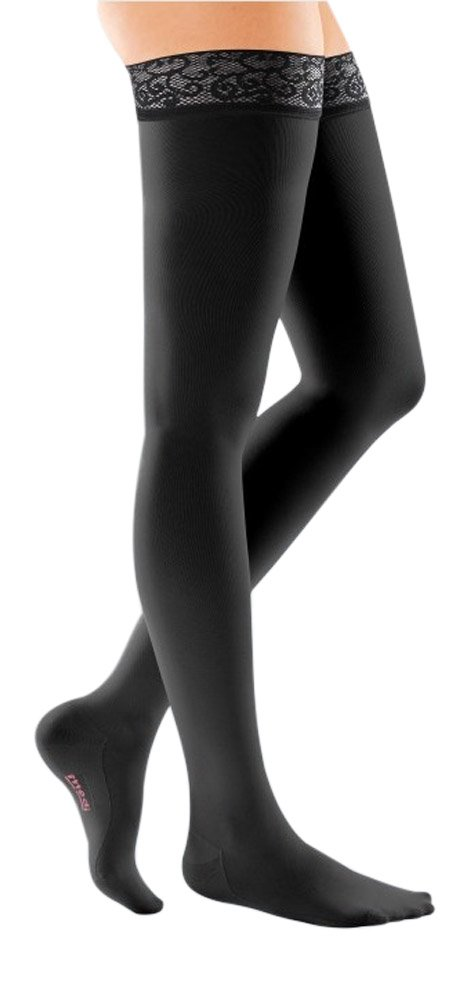 mediven Comfort, 20-30 mmHg, Thigh High Compression Stockings w/Lace Top-Band, Closed Toe (Color: Ebony, Tamaño: V - Petite)