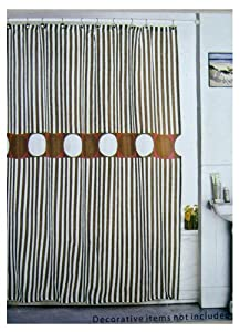 Spring Classic Brown And White Stripe Fabric Shower Curtain Spr