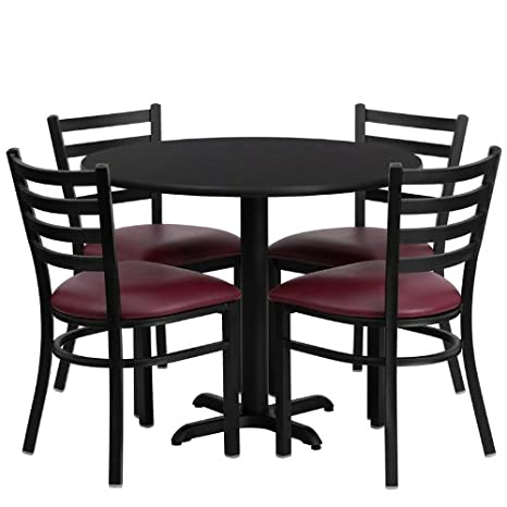 36'' Round Black Laminate Table Set of 4 Ladder Back Metal Chairs Burgundy Vinyl Seat Prong Base