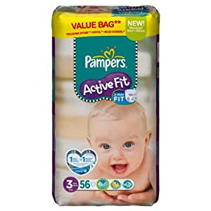Pampers - 81371228 - Active Fit Couches - Taille 3 Midi - 4-9 kg - Format Economique x 56 Couches