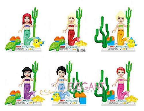 Little Mermaid & Friend Ariel Flounder Building Toy 6 Mini Figure Fits with Lego