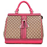 Dressage square canvas tote handbag with double handle by DUDU Color Fuxia