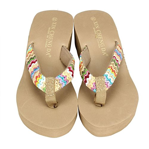 Tenworld Womens Fashion Wedge Sandals Thongs Flip Flop Shoes (6, Khaki) (Display Cases With Curve Glass compare prices)