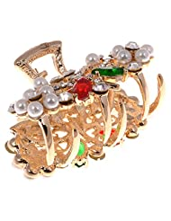 CHEMB Golden Metal Moti And Stone Studded Hair Clip For Women (A0515-AP-20-AA)