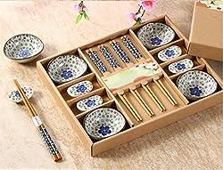 EZ Life Oriental Floral Chopstick, Chopstick Rest & Bowl Set 4 pcs each -Ceramic & Bamboo - Dining & Tableware - Blue