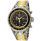 Invicta Men's 12778 Subaqua Chronograph Black Carbon Fiber Dial Titanium, White Ceramic and Yellow Plastic Watch
