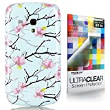 CaseiLike® Light Blue, Peach blossom 2220, Snap-on hard case back cover for Samsung Galaxy S3 mini i8190 with Screen Protector