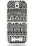GRÜV Premium Case - Design Schwarz-Weiß Afrika Tribal Muster - Qualitativ Hochwertiger Druck Weiße Hülle - für HTC One SV ST T528T