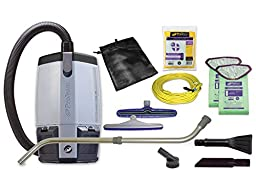 ProTeam Vacuum Backpack, ProVac FS 6 HEPA Commercial Backpack Vacuum Cleaner with Small Business Kit, 6 Quart - Corded