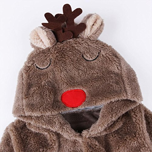 FEITONG Newborn Baby Girl Boy Deer Romper Footies Winter Warm Outwear (6 Months)
