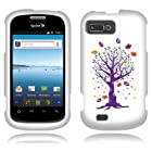 Fincibo (TM) ZTE Fury N850 Director N850L Valet Z665C Protector Cover Case Snap On Hard Plastic - Purple Tree And Birds, Front And Back