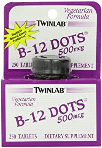 Twinlab B-12 Dots Vitamin B-12, 500mcg, 250 Tablets