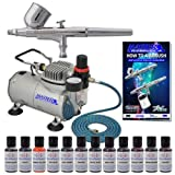 MASTER Cake Decorating Airbrush Kit with 12 Food Color Set With Airbrush Depot 1 Year Warranty Tankless Compressor and 6 Foot Air Hose Set