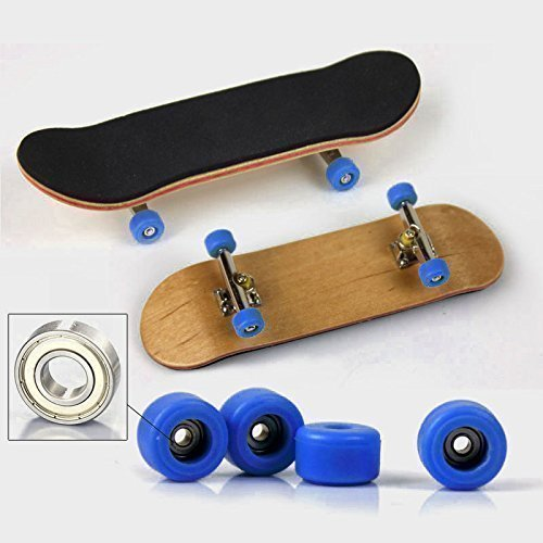 Maple Complete Wooden Fingerboard Metal Nuts Trucks - Basic Bearing Blue Wheel by SDIT TOYS