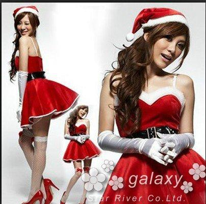 Xmas クリスマスサンタ お得なコスプレ3点セット 衣装 c1 (サンタワンピース ベルト 帽子の3点セットです)