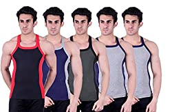 Zimfit Superb Gym Vests - Pack of 5 (BLK_BLU_GRN_GRY_GRY_95)