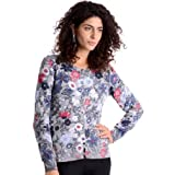 Women's Grey Floral Cardigan