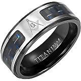 MasonicMan Titanium Masonic Ring with Latin Engraving and Blue Carbon Fiber In Free Black Velvet Ring Box