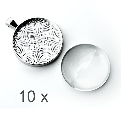 10 x silver round bezel trays and clear round glass cabochons for jewelry making kit, craft supplies, jewelry findings, cabochon necklace kit for girls adults - silver bezel tray pendants for necklace (Jewelry Starter Kits For Adults compare prices)