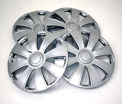 TuningPros WSC-713S14 Hubcaps Wheel Skin Cover 14-Inches Silver Set of 4