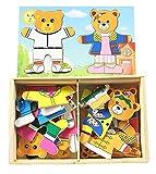 Los juguetes educativos de los ni�os soportan el cambio de ropa de puzzle magn�tico beb� aprendiendo a crear una l�gica para coordinar la capacidad de desarrollar un regalo de cumplea�os (B)