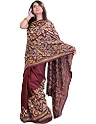 Exotic India Oxblood-Brown Kantha Saree From Kolkata With Hand Embroidered - Red