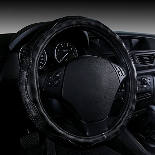 Black Color Top Quality Leather Luxury Car Steering Wheel Cover style Fit Steering-Wheel 14-15