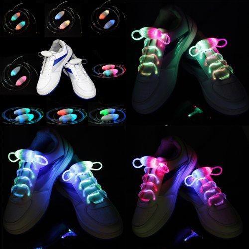 Foxnovo Novelty Weatherproof Washable 3-Mode Led Glowing Flashing Shoelaces - 4 Pairs/Set front-381708