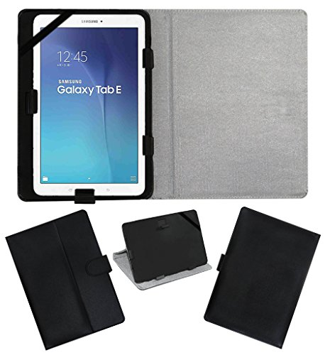 Acm Leather Flip Flap Carry Case For Samsung Galaxy Tab E T561 Tablet Holder Stand Cover Black