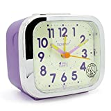 JCC Two Alarm Sound LED Night light Quartz Analog non ticking sweep second hand bedside alarm clock (Violet)