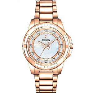 Bulova Watches Ladies Rose Gold Diamond Set Watch
