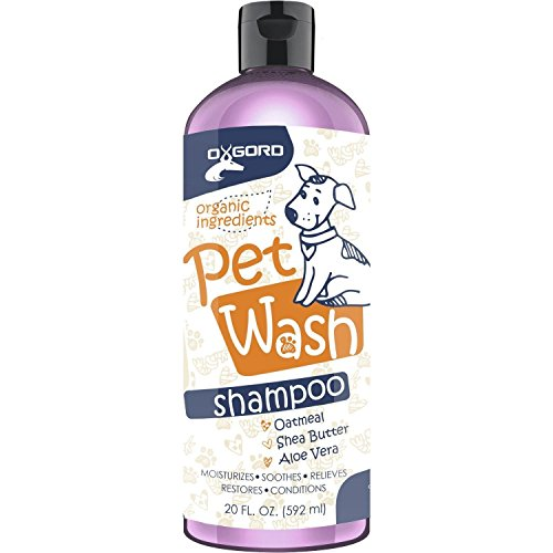 OxGord Organic Oatmeal Dog Shampoo & Conditioner 100% Natural 20 oz- Medicated Clinical Vet Formula Wash For All Pets - Made with Aloe Vera for Relieving Dry Itchy Skin - Best Pet Odor Eliminator