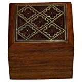 Handmade Jewellery Box Square Shape Wood Carving With Floral Brass Inlay Design