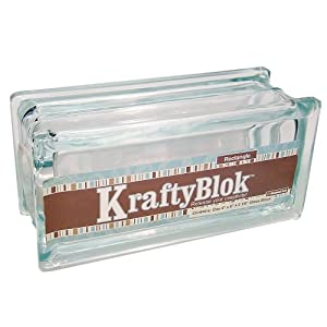 KraftyBlok 113, Glass Crafting Block 4-Inch by 8-Inch Rectangle with Round Opening and Plastic Cap, Clear