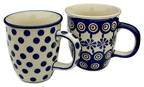 hand-decorated-polish-pottery-manu-faktura-set-2xk-081-24-x-54kk-mug-pair-of-2-mars-cobalt-blue-9-cm