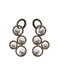 Alkafashionjewels Earrings In Circle Design With Cz Stones And Pearls For Women