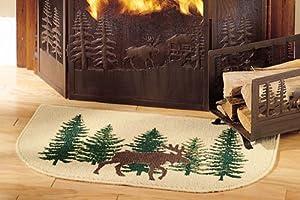 Amazon Com Moose Hearth Rug Cabin Fireplace And Wood