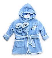 Spasilk 100% Cotton Hooded Terry Bathrobe with Booties, Blue Plane, 0-9 Months from Spasilk