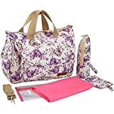 Yoovi Large Multifunction Mummy Bag Diaper Tote Bag, Plum (Purple)