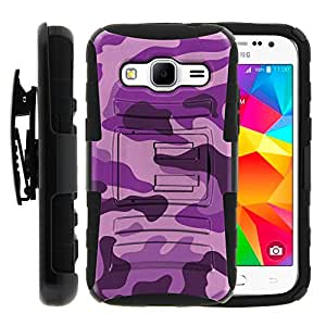 Samsung Galaxy Core Prime Case, Samsung Galaxy Core Prime Holster, Two Layer Hybrid Armor Hard Cover with Built in Kickstand and Unique Graphic Images for Samsung Galaxy Core Prime G360 (Boost Mobile) from MINITURTLE | Includes Screen Protector - Purple Camouflage